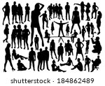 people silhouettes set | Shutterstock .eps vector #184862489