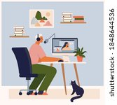 stay at home  recording podcast ... | Shutterstock .eps vector #1848644536