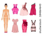 vector dress up doll with an... | Shutterstock .eps vector #184864643