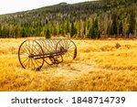 Old  Vintage Hay Tedder On A...