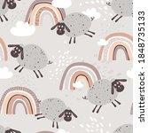 happy sheeps  hand drawn... | Shutterstock .eps vector #1848735133