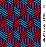 lined 3d cubes seamless pattern ... | Shutterstock .eps vector #184874444