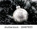 white christmas bauble in green ... | Shutterstock . vector #18487855
