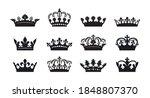 set of black vector king crown... | Shutterstock .eps vector #1848807370