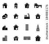 vector black building icons set ... | Shutterstock .eps vector #184881176
