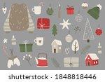 christmas stickers set. hand... | Shutterstock .eps vector #1848818446