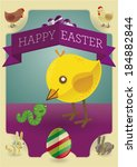 happy easter   the chicken and... | Shutterstock .eps vector #184882844