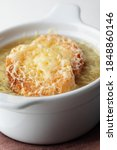 french onion soup baked with...   Shutterstock . vector #1848860146