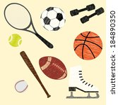set of stylized sports equipment | Shutterstock .eps vector #184890350