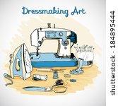 dressmaking art  sewing tools   ... | Shutterstock .eps vector #184895444