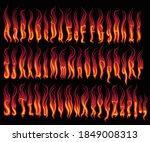 flaming font. design set. hand... | Shutterstock .eps vector #1849008313