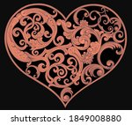 patterned heart. valentine's...   Shutterstock .eps vector #1849008880