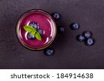 blueberry smoothie in a glass... | Shutterstock . vector #184914638