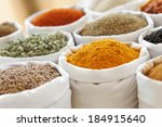 Market Stall Full Of Spices An...