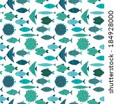 seamless pattern with blue fish ... | Shutterstock .eps vector #184928000
