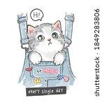 cute little kitten in front... | Shutterstock .eps vector #1849283806