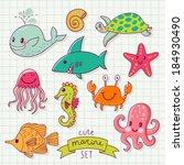 funny color set with sea live.... | Shutterstock .eps vector #184930490