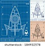 rocket blueprint cartoon ... | Shutterstock .eps vector #184932578
