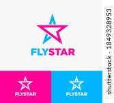 fly star logo. star and paper... | Shutterstock .eps vector #1849328953