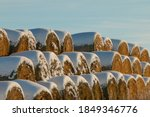 Snow Covered Round Hay Bales