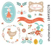cute collection of easter... | Shutterstock .eps vector #184935278