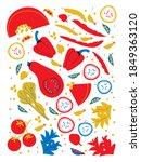 flat organic vegetables big...   Shutterstock .eps vector #1849363120