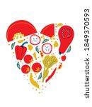 veg heart. organic farm... | Shutterstock .eps vector #1849370593