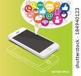 social media on smartphone   Shutterstock .eps vector #184940123