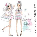 fashion illustration girls  | Shutterstock .eps vector #184941920