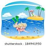 girl dives into the sea | Shutterstock .eps vector #184941950
