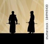 active japanese kendo sword... | Shutterstock .eps vector #184945430