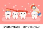 cute tooth hygiene. smiling ... | Shutterstock .eps vector #1849483960