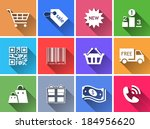 set of flat color buttons.... | Shutterstock .eps vector #184956620