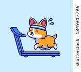 happy corgi running on the...   Shutterstock .eps vector #1849617796