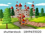 fairytale scene with castle and ... | Shutterstock .eps vector #1849655020