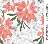 Seamless Pattern With Oleander...