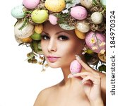 easter woman. spring girl with... | Shutterstock . vector #184970324