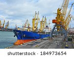 bulk cargo ship under port... | Shutterstock . vector #184973654