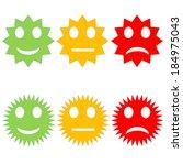six starry happy to sad smileys ...   Shutterstock . vector #184975043