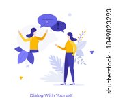 woman chatting with herself or... | Shutterstock .eps vector #1849823293