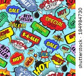 Pop art comic sale seamless pattern with speech bubbles explosions and bombs vector illustration - stock vector