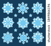 a set of blue snowflakes with a ... | Shutterstock .eps vector #1849866196