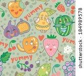 cute funny vector fruit... | Shutterstock .eps vector #184989578
