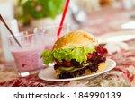 hamburger with lettuce leaves | Shutterstock . vector #184990139