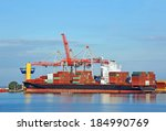container stack and ship under... | Shutterstock . vector #184990769