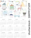 cozy hand drawn calendar 2021....   Shutterstock .eps vector #1849917109