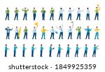 set of poses and actions of a... | Shutterstock .eps vector #1849925359