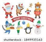 cute vector animals  santa... | Shutterstock .eps vector #1849935163