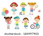 cute kids | Shutterstock .eps vector #184997903