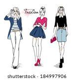 fashion models | Shutterstock .eps vector #184997906